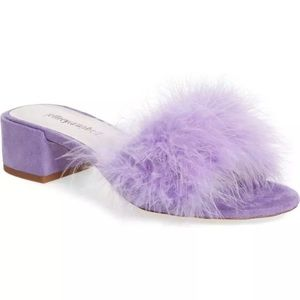 NEW 8.5 Jeffrey Campbell Beaton Purple Furry Mule